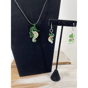 Seahourse Necklace Earing Set Green Glass Jewelry